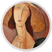 Portrait Of Jeanne Hebuterne In A Large Hat Round Beach Towel by Amedeo Modigliani