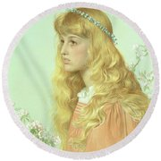 Portrait Of Miss Adele Donaldson, 1897 Round Beach Towel by Anthony Frederick Augustus Sandys