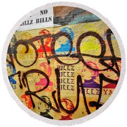 Post No Bills Hillary Clinton  Round Beach Towel by Funkpix Photo Hunter