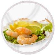 Prawn Salad With Lemon Round Beach Towel by Amanda Elwell