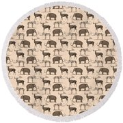 Prehistoric Animals Round Beach Towel by Antique Images