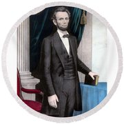President Abraham Lincoln In Color Round Beach Towel by War Is Hell Store