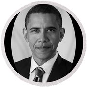 President Barack Obama Round Beach Towel by War Is Hell Store