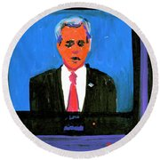 President George Bush Debate 2004 Round Beach Towel by Candace Lovely