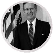 President George Bush Sr Round Beach Towel by War Is Hell Store