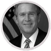 President George W. Bush Round Beach Towel by War Is Hell Store