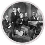 President Lincoln His Cabinet And General Scott Round Beach Towel by War Is Hell Store