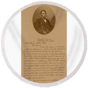 President Lincoln's Letter To Mrs. Bixby Round Beach Towel by War Is Hell Store