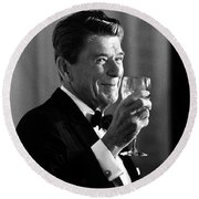 President Reagan Making A Toast Round Beach Towel by War Is Hell Store