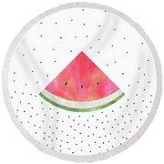 Pretty Watermelon Round Beach Towel by Elisabeth Fredriksson