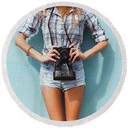 Pretty Woman Using Vintage Camera Round Beach Towel by Siarhei Kazlou