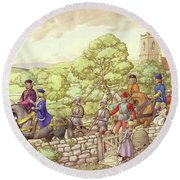 Prince Edward Riding From Ludlow To London Round Beach Towel by Pat Nicolle