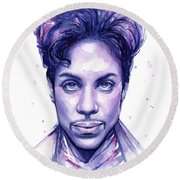 Prince Purple Watercolor Round Beach Towel by Olga Shvartsur