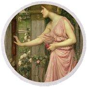 Psyche Entering Cupid's Garden Round Beach Towel by John William Waterhouse