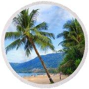 Phuket Patong Beach Round Beach Towel by Mark Ashkenazi