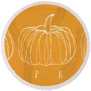 Pumpkins- Art By Linda Woods Round Beach Towel by Linda Woods