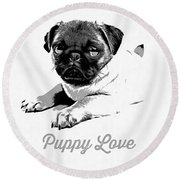 Puppy Love Round Beach Towel by Edward Fielding