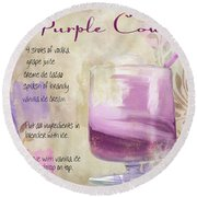 Purple Cow Mixed Cocktail Recipe Sign Round Beach Towel by Mindy Sommers