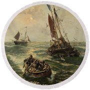 Putting The Catch Ashore Round Beach Towel by Thomas Rose Miles