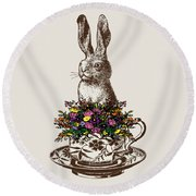 Rabbit In A Teacup Round Beach Towel by Eclectic at HeART