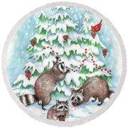 Raccoon Christmas Round Beach Towel by Peggy Wilson