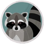 Raccoon Forest Bandit Round Beach Towel by Antique Images