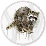 Raccoon Round Beach Towel by Marian Voicu