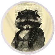 Raccoon Portrait, Animals In Clothes Round Beach Towel by Madame Memento