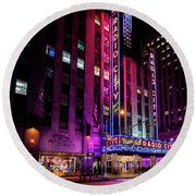 Round Beach Towel featuring the photograph Radio City Music Hall by M G Whittingham