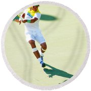 Rafael Nadal Shadow Play Round Beach Towel by Steven Sparks