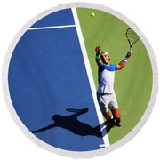 Rafeal Nadal Tennis Serve Round Beach Towel by Nishanth Gopinathan