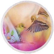 Raiding The Teacup - Songbird Art Round Beach Towel by Jai Johnson