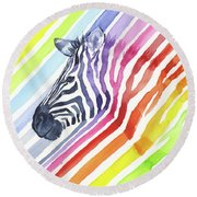 Rainbow Zebra Pattern Round Beach Towel by Olga Shvartsur