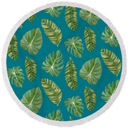 Rainforest Resort - Tropical Leaves Elephant's Ear Philodendron Banana Leaf Round Beach Towel by Audrey Jeanne Roberts