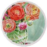 Ranunculus In The Glass Vase Round Beach Towel by Irina Sztukowski