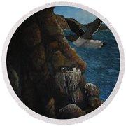 Razorbills Round Beach Towel by Eric Petrie