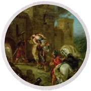 Rebecca Kidnapped By The Templar Round Beach Towel by Ferdinand Victor Eugene Delacroix