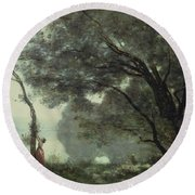 Recollections Of Mortefontaine Round Beach Towel by Jean Baptiste Corot