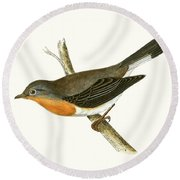 Red Breasted Flycatcher Round Beach Towel by English School