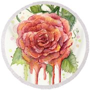 Red Rose Dripping Watercolor  Round Beach Towel by Olga Shvartsur