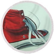 Red Sneakers Round Beach Towel by Nolan Clark