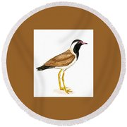 Red - Wattled Lapwing Round Beach Towel by Ketki Fadnis