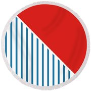 Red White And Blue Triangles 2 Round Beach Towel by Linda Woods