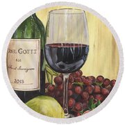Red Wine And Pear 2 Round Beach Towel by Debbie DeWitt