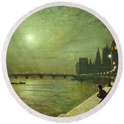 Reflections On The Thames Round Beach Towel by John Atkinson Grimshaw