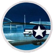 Republic P-47n Thunderbolt Round Beach Towel by Wilf Hardy