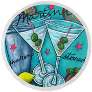 Retro Martini Round Beach Towel by Lisa  Lorenz