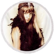 Retro Showgirl In Feather Boa Round Beach Towel by Jorgo Photography - Wall Art Gallery