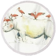 Rhino And Ibis Round Beach Towel by Juan Bosco