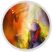 Robert Plant And Jimmy Page 02 Round Beach Towel by Miki De Goodaboom